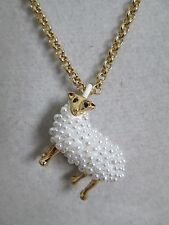NWT Auth Kate Spade Spirit Animals Pearl Sheep Long Pendant Chain Necklace $78