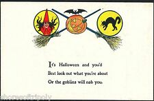 EARLY 1900's WITCH BAT BLACK CAT HALLOWEEN POSTCARD ~ GOBLINS WILL NAB YOU!