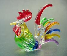Glass COCKEREL CHICKEN HEN ROOSTER Bird, Multi Coloured Glass Animal Ornament
