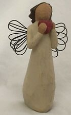 "Willow Tree 4.25"" Angel w Wire Wings Holding Red Heart Figurine"