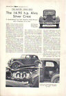 Alvis 16.95 hp Silver Crest Period Reprinted Road Test from The Motor 1937