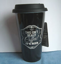 Mens Gents Black Ceramic Insulated Double Walled Travel Mug Not Coffee...Beer
