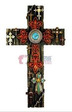 Collage Decorative Wall Cross Turquoise Layered Fleur De Lis Rustic Western