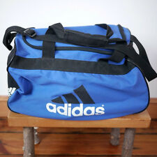 ADIDAS Black White Blue Duffle Travel Sports Gym Carry On Shoulder Bag 18x10x10