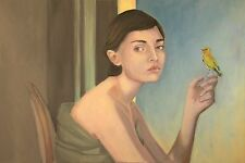print from original oil painting woman portrait on glossy paper bird