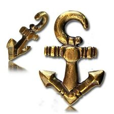 PAIR 4g (5.5mm) ANTIQUED ANCHOR BRASS EAR WEIGHTS PLUGS TUNNELS STRETCH GAUGE