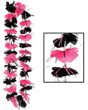 "36"" Pink And Black Tropical Flower Hawaiian Lei Costume Accessory"