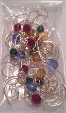 25 Wire Bead Christmas Ornament Hooks Hanger Decor Gold or Silver Glass Beads