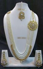 Bollywood Indian Ethnic Designer Gold Plated Kundan Pearl Fashion Jewelry Set