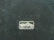 1 GRAM .999 SILVER MOTORCYCLE RIDE 2 LIVE BAR COIN HARLEY STURGIS GOLD WING BIKE
