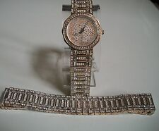SILVER FINISH CLEAR CRYSTAL BLING HIP HOP GENEVA WATCH AND BRACELET SET