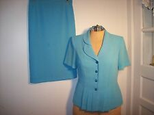 Ladies JULIAN TAYLOR Skirt Suit Size 8 Turquoise Blue DRESSY / CAREER PRETTY!!!!