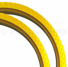 "Kenda Comp 3 III old school BMX skinwall gumwall tires PAIR 26"" X 2.125"" YELLOW"