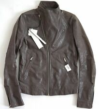 $3810 Authentic RICK OWENS Gray Distressed Leather BIKER Jacket IT-50 US-40