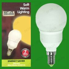 1x 7W Low Energy CFL Globe Round Golf Light Bulb SES E14 Small Edison Screw Lamp