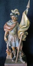 "LARGE 13""  OLD WOOD CARVED CARVING SCULPTURE ST FLORIAN PATRON SAINT OF FIREMEN"