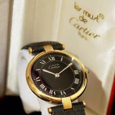 MINT AUTHENTIC CARTIER VENDOME VERMEIL ROUND QUARTZ GENTS WATCH W/ BOX & PAPERS