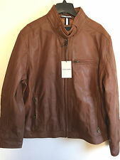 NWT COLE HAAN Men Brown Leather Bomber Jacket W/Quilted Liner Sz XXL