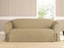 MICRO-SUEDE SLIPCOVER SOFA LOVESEAT CHAIR FURNITURE COVER, TAUPE BROWN BLACK