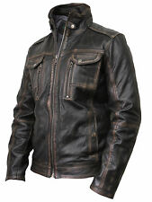 Mens All Leather Washed Retro Bomber Jacket Zipped Top Pocket Vintage Brown BNWT