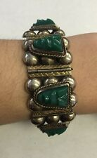 """Sterling Silver Mexican Jade Carved Mayan/Aztec Warrior Face Bracelet 7"""""""
