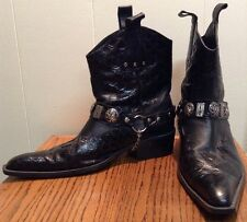 RARE Etor Mens Leather Pointed Gator Western Cowboy Boots Black Size 45 US 12