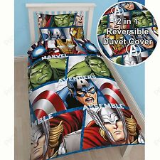 MARVEL AVENGERS SHIELD SINGLE REVERSIBLE DUVET COVER THOR HULK IRON MAN NEW