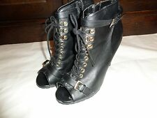 DOROTHY PERKINS BLACK HEELED LACE UP PEEP TOE BOOTS SIZE 6 EUR 39