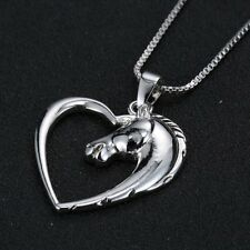 ELEGANT WHITE GOLD PLATED NECKLACE HEART HORSE HEAD GIFT LADIES GIRL PRESENT