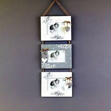 3 in 1 Wooden Shabby Chic Wall Photo Frames (picture 3,5''x 5'') Home Decoration