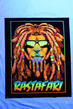 Blacklight reactive tapestry / fabric poster // Rasta Rastafarian Dreadlock Lion