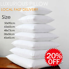 Twin Pack-Luxury Soft Polyester Standard Pillow 48cmx73cm 100% Cotton Cover New