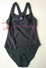 New Slazenger Racer Back Ladies Swim Suit Size 14L Black/Purple NWT