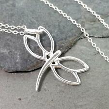 Dragonfly Cutout Necklace - 925 Sterling Silver Insect Nature Charm Jewelry NEW