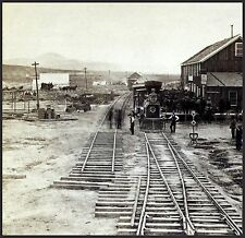 Alfred Hart, Train Depot Elko, Nevada, 1880 antique decor, Railroad, 16x16 Photo