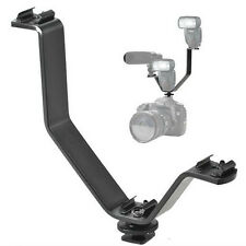 V Shape Triple Mount Hot Shoe Flash Bracket for Speedlite DSLR Camera Microphone