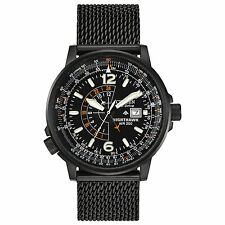 NEW CITIZEN ECO-DRIVE NIGHTHAWK BLACK MESH BRACELET MEN'S WATCH BJ7009-58E