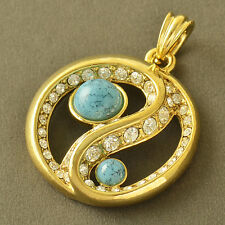 Mystic Yin And Yang Yellow Gold Filled Crystal Turquoise Womens Pendant