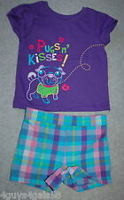 Toddler Girls Outfit PURPLE GLITTER TEE Pugs Kisses TURQUOISE SHORTS Plaid 18 MO