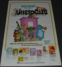 THE ARISTOCATS 1973R ORIGINAL NM 27x41 MOVIE POSTER! DISNEY CARTOON CLASSIC!