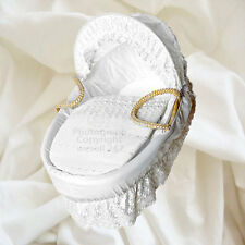 White Broderie Anglaise Moses Basket Dressing Set Covers and Hood Rods