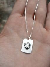 Antique Vintage DELTA THETA TAU Crest Sorority Jewelry Necklace w Chain Sterling
