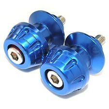 Blue - 6mm CNC Billet Swingarm Stand Spools for Yamaha Aprilia Triumph Rocket
