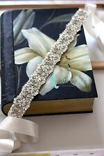 Ivory Bridal Sash/Belt With Beaded Swarovski Crystal,Pearl & Rhinestones Flowers