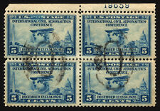 #650 5c Blue 1928 Used Plate # Block of 4 Rare