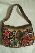 BIACCI HAND PAINTED LEATHER BAG PURSE BUTTERFLY FLORAL