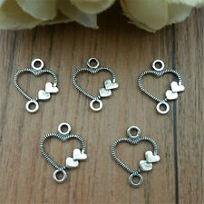 Wholesale 50pcs Tibet Silver  Love Heart Crafts Charms Pendants Making Jewelry