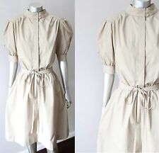 Safari Style Vintage 80s Belted Khaki Pouf Slv Secretary Cotton Dress Sz M