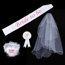 4Pcs White Hen Night Party  Bride To Be  Veil Badge Sash Lace Garter Accessory