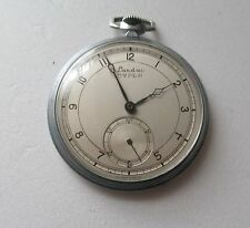 Vtg Landau Dyper 15J Swiss Pocket Watch Nickel Chrome Case Runs Parts Repair